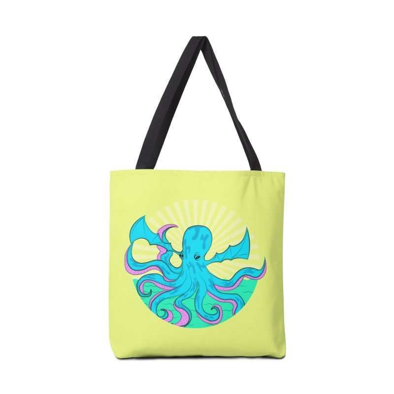 Pop Art Octobat with Sunrays Accessories Tote Bag Bag by Moon Bear Design Studio's Artist Shop