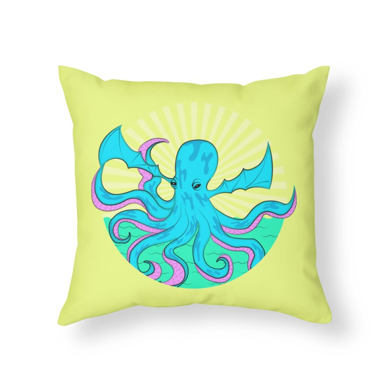 Pop Art Octobat with Sunrays Home Throw Pillow by Moon Bear Design Studio's Artist Shop