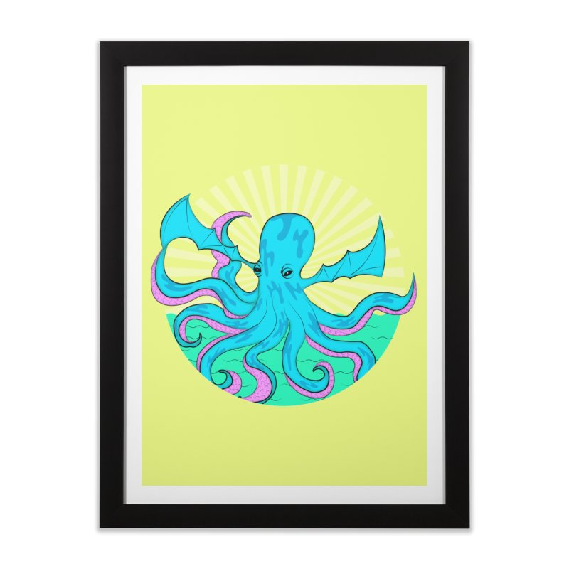 Pop Art Octobat with Sunrays Home Framed Fine Art Print by Moon Bear Design Studio's Artist Shop