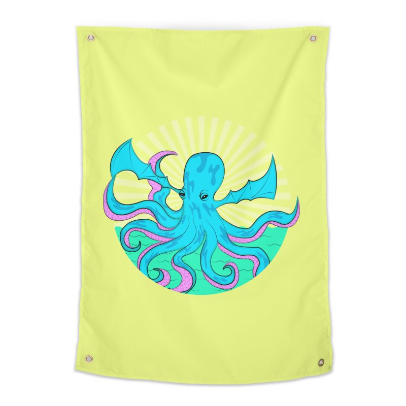 Pop Art Octobat with Sunrays Home Tapestry by Moon Bear Design Studio's Artist Shop
