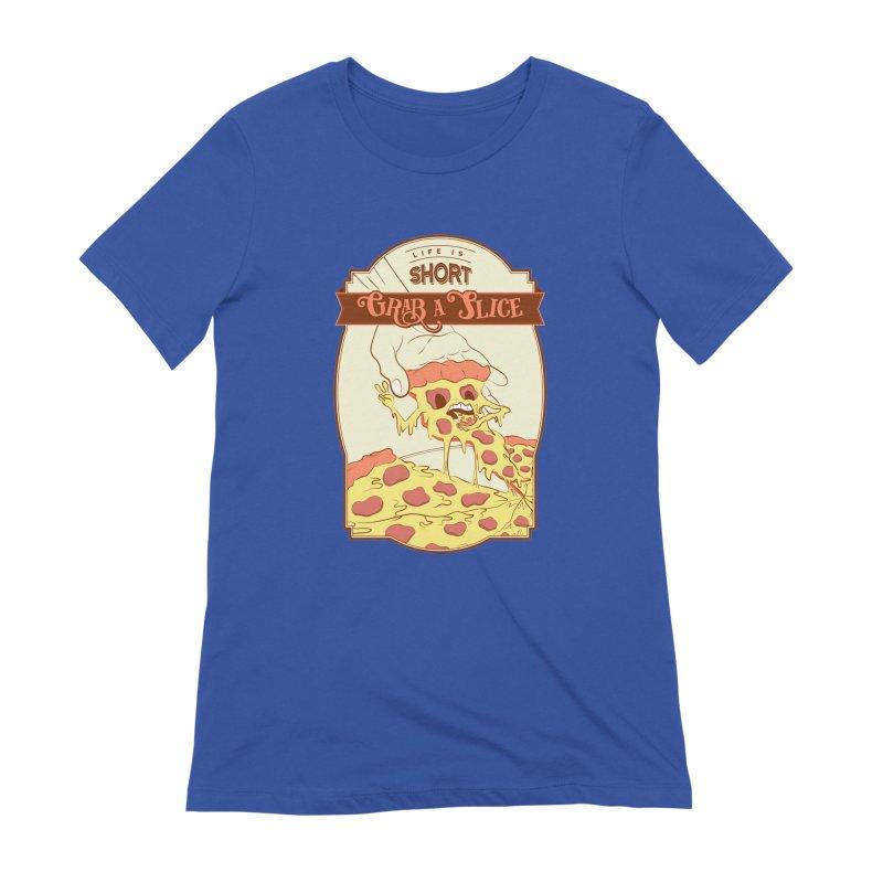 Pizza Love - Life is Short, Grab a Slice Women's Extra Soft T-Shirt by Moon Bear Design Studio's Artist Shop
