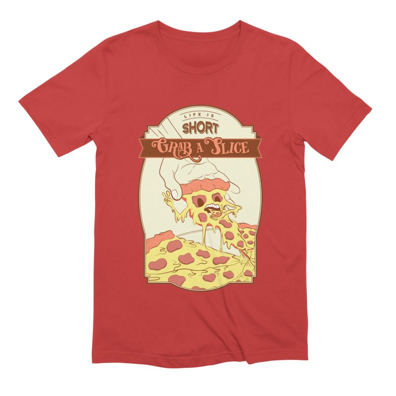 Pizza Love - Life is Short, Grab a Slice Men's Extra Soft T-Shirt by Moon Bear Design Studio's Artist Shop