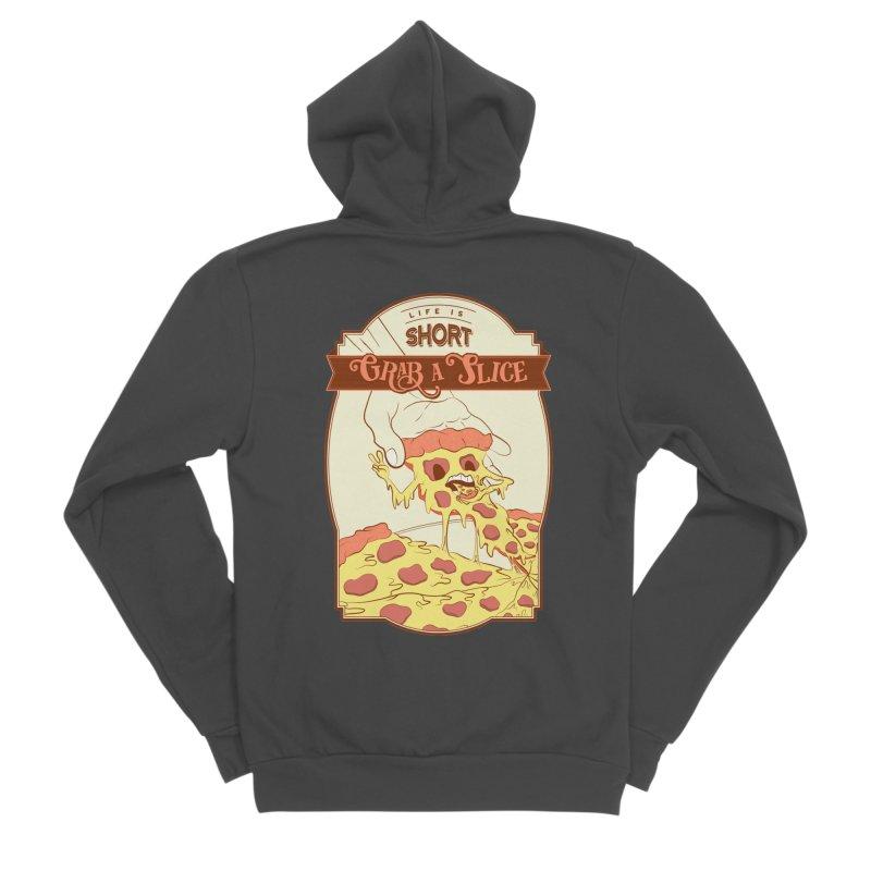 Pizza Love - Life is Short, Grab a Slice Men's Sponge Fleece Zip-Up Hoody by Moon Bear Design Studio's Artist Shop