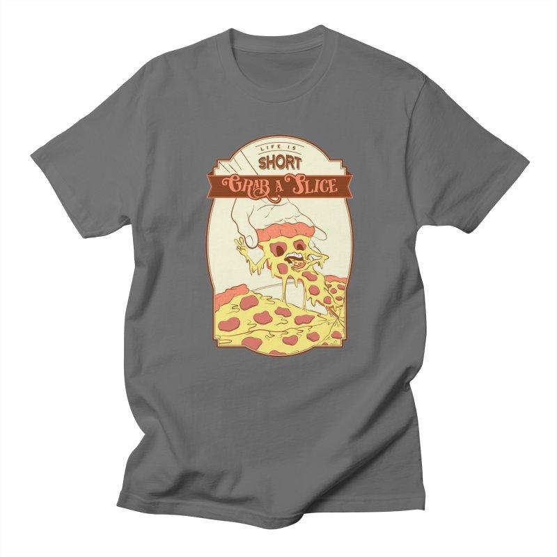 Pizza Love - Life is Short, Grab a Slice Men's T-Shirt by Moon Bear Design Studio's Artist Shop