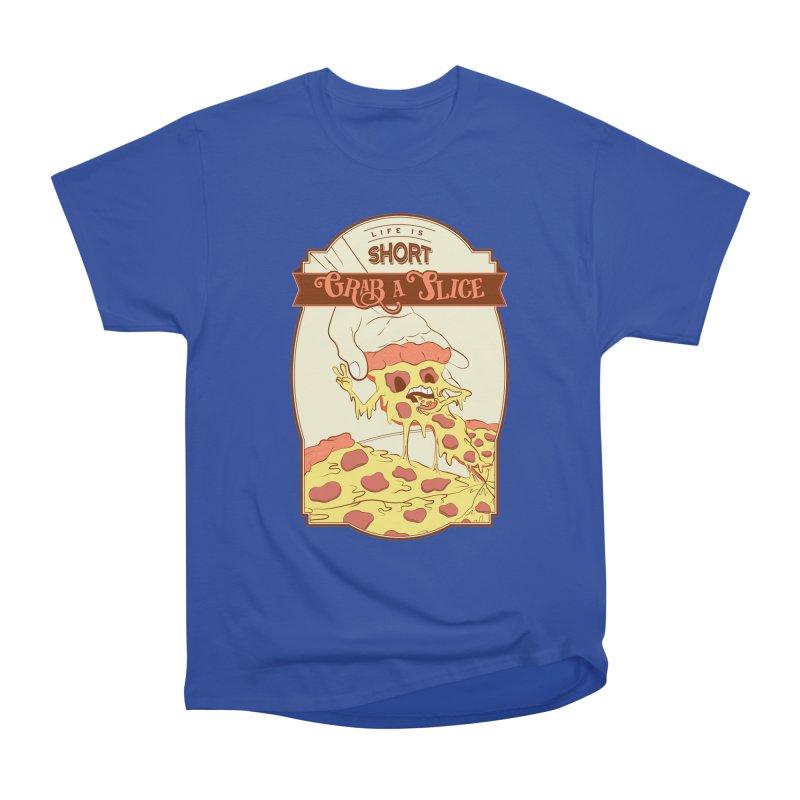 Pizza Love - Life is Short, Grab a Slice Women's Heavyweight Unisex T-Shirt by Moon Bear Design Studio's Artist Shop