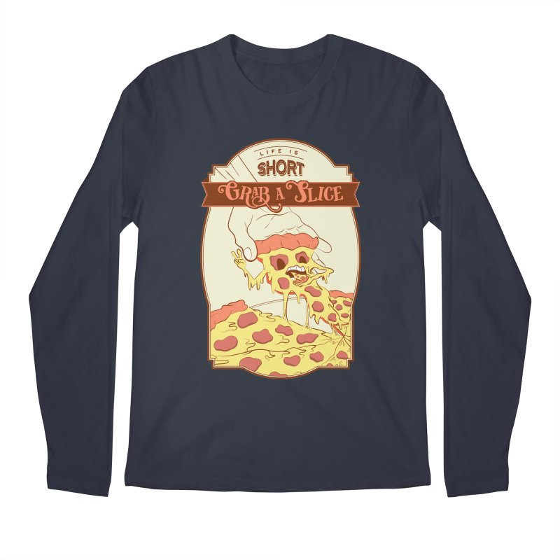Pizza Love - Life is Short, Grab a Slice Men's Regular Longsleeve T-Shirt by Moon Bear Design Studio's Artist Shop