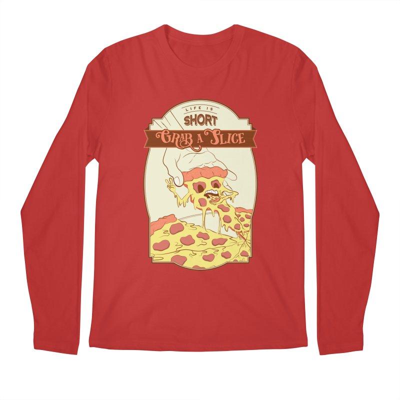 Pizza Love - Life is Short, Grab a Slice Men's Regular Longsleeve T-Shirt by Moon Bear Design Studio's Artist Shop