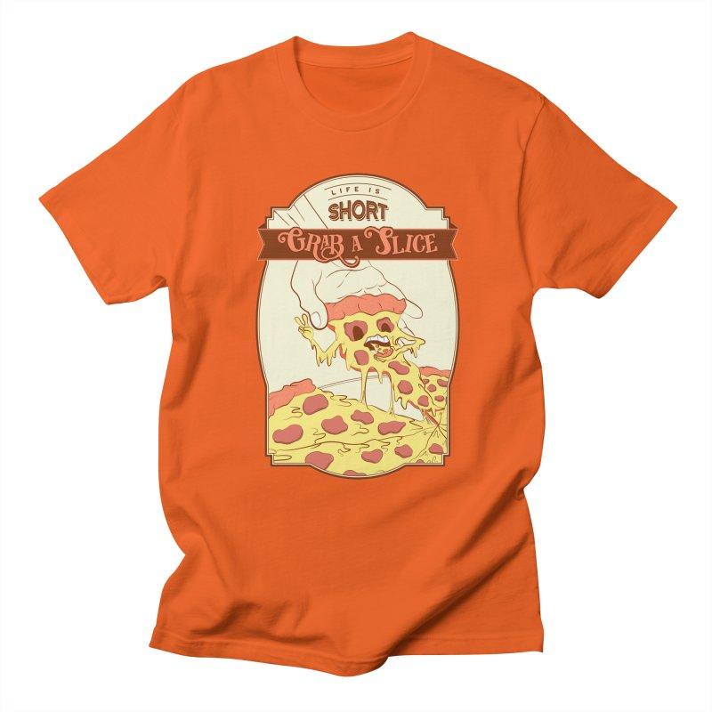 Pizza Love - Life is Short, Grab a Slice Men's Regular T-Shirt by Moon Bear Design Studio's Artist Shop