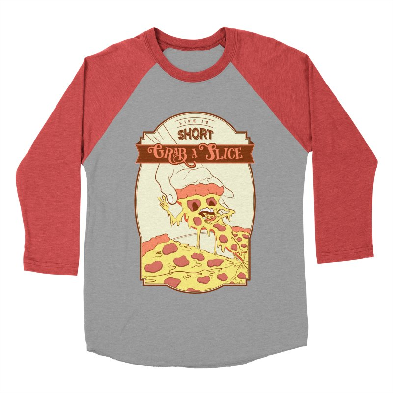 Pizza Love - Life is Short, Grab a Slice Men's Baseball Triblend Longsleeve T-Shirt by Moon Bear Design Studio's Artist Shop