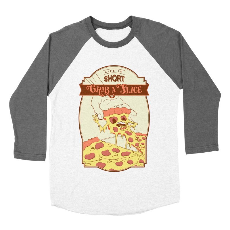 Pizza Love - Life is Short, Grab a Slice Men's Baseball Triblend Longsleeve T-Shirt by Moon Bear Design Studio's Artist Shop