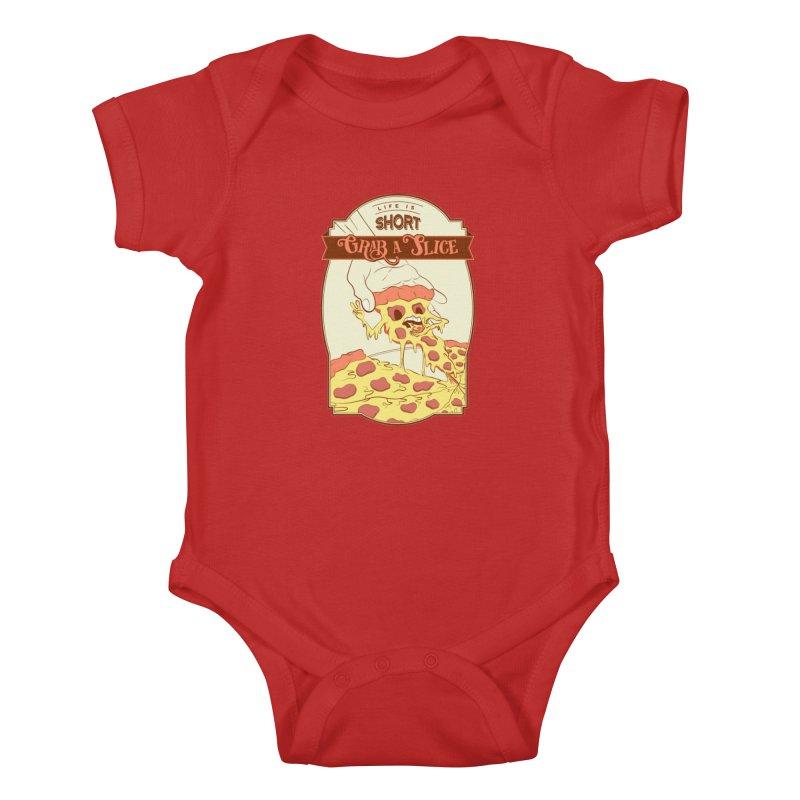 Pizza Love - Life is Short, Grab a Slice Kids Baby Bodysuit by Moon Bear Design Studio's Artist Shop