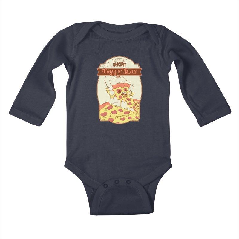 Pizza Love - Life is Short, Grab a Slice Kids Baby Longsleeve Bodysuit by Moon Bear Design Studio's Artist Shop