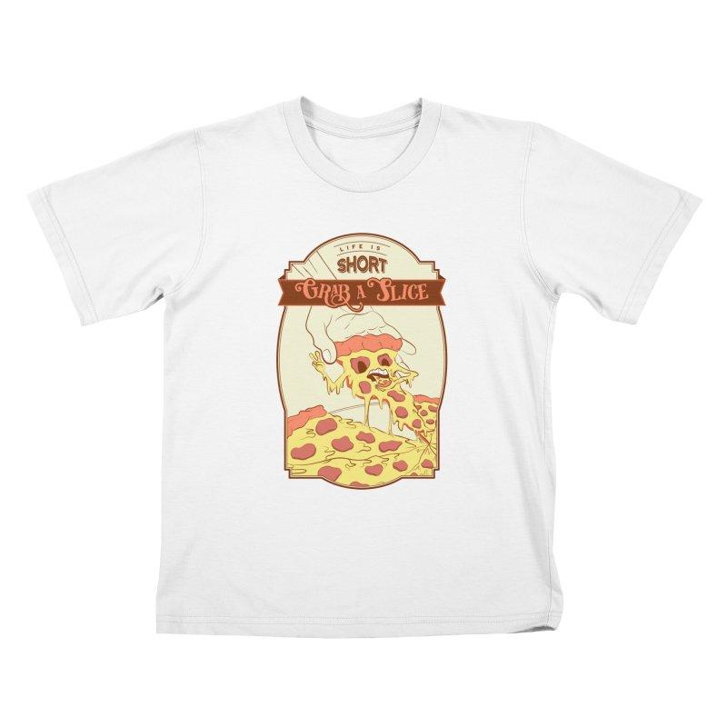 Pizza Love - Life is Short, Grab a Slice Kids T-Shirt by Moon Bear Design Studio's Artist Shop