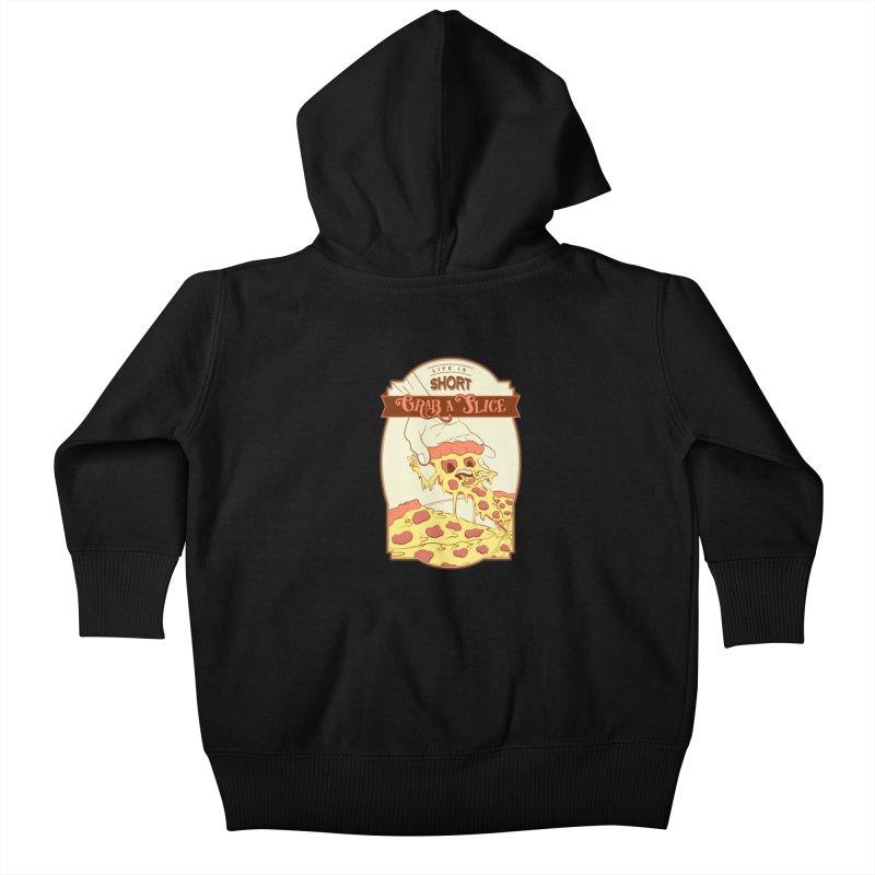 Pizza Love - Life is Short, Grab a Slice Kids Baby Zip-Up Hoody by Moon Bear Design Studio's Artist Shop
