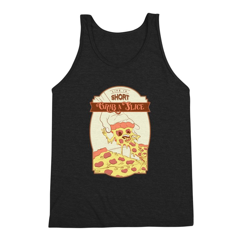 Pizza Love - Life is Short, Grab a Slice Men's Triblend Tank by Moon Bear Design Studio's Artist Shop