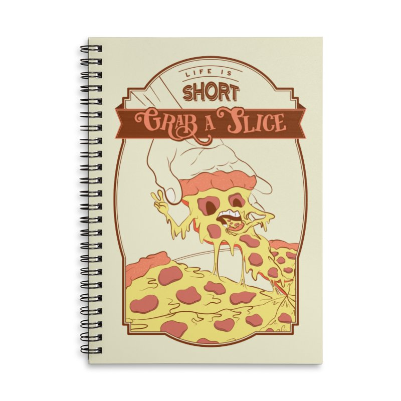 Pizza Love - Life is Short, Grab a Slice Accessories Lined Spiral Notebook by Moon Bear Design Studio's Artist Shop