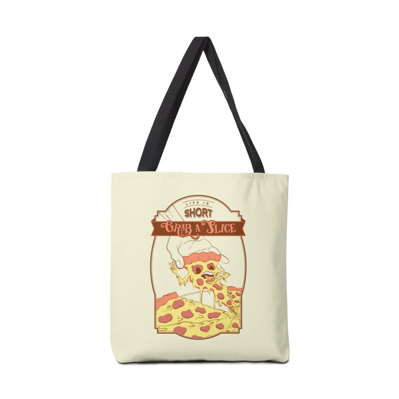 Pizza Love - Life is Short, Grab a Slice Accessories Tote Bag Bag by Moon Bear Design Studio's Artist Shop