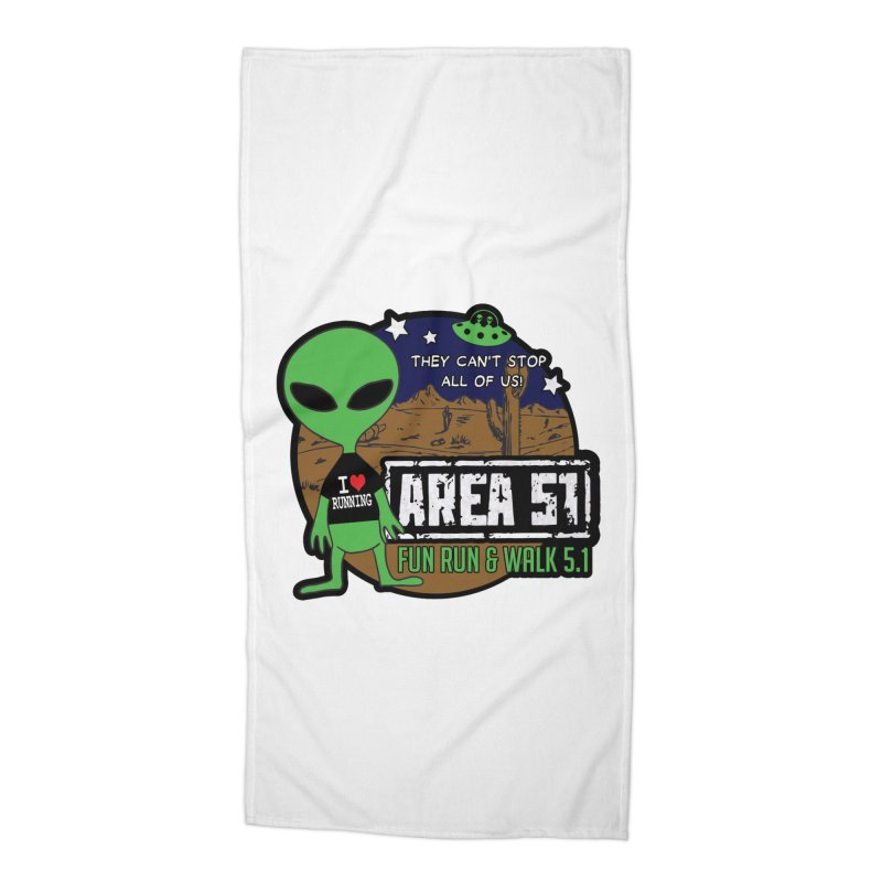 Area 51 5.1K Fun Run & Walk Accessories Beach Towel by Moon Joggers's Artist Shop