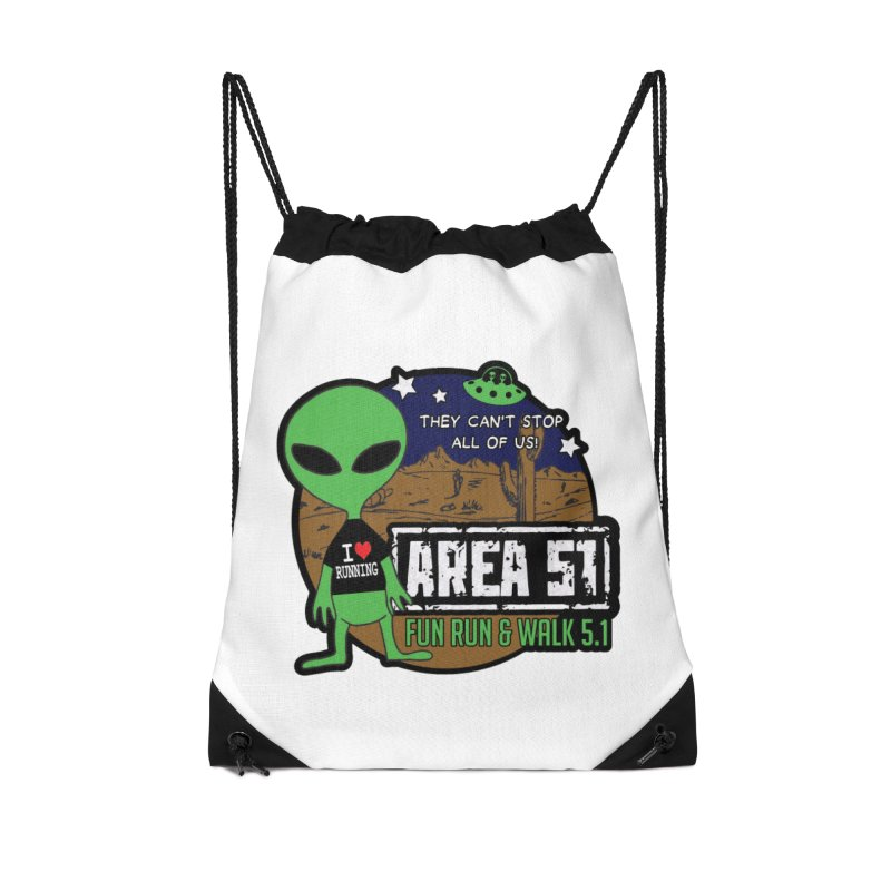 Area 51 5.1K Fun Run & Walk Accessories Drawstring Bag Bag by Moon Joggers's Artist Shop