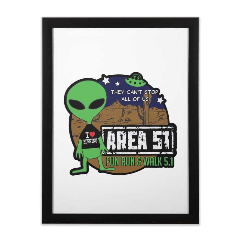 Area 51 5.1K Fun Run & Walk Home Framed Fine Art Print by Moon Joggers's Artist Shop