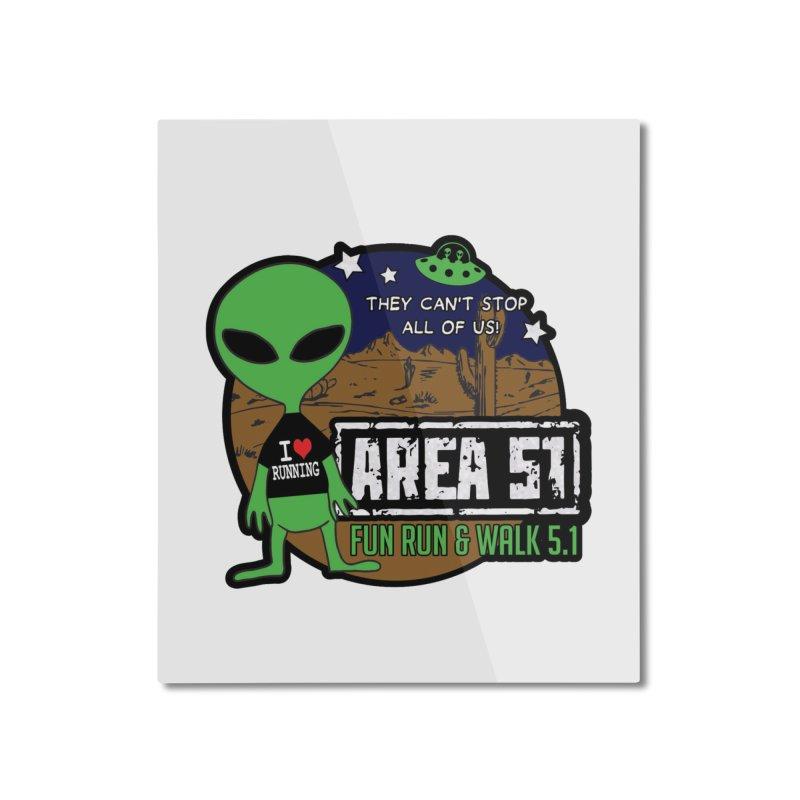 Area 51 5.1K Fun Run & Walk Home Mounted Aluminum Print by Moon Joggers's Artist Shop