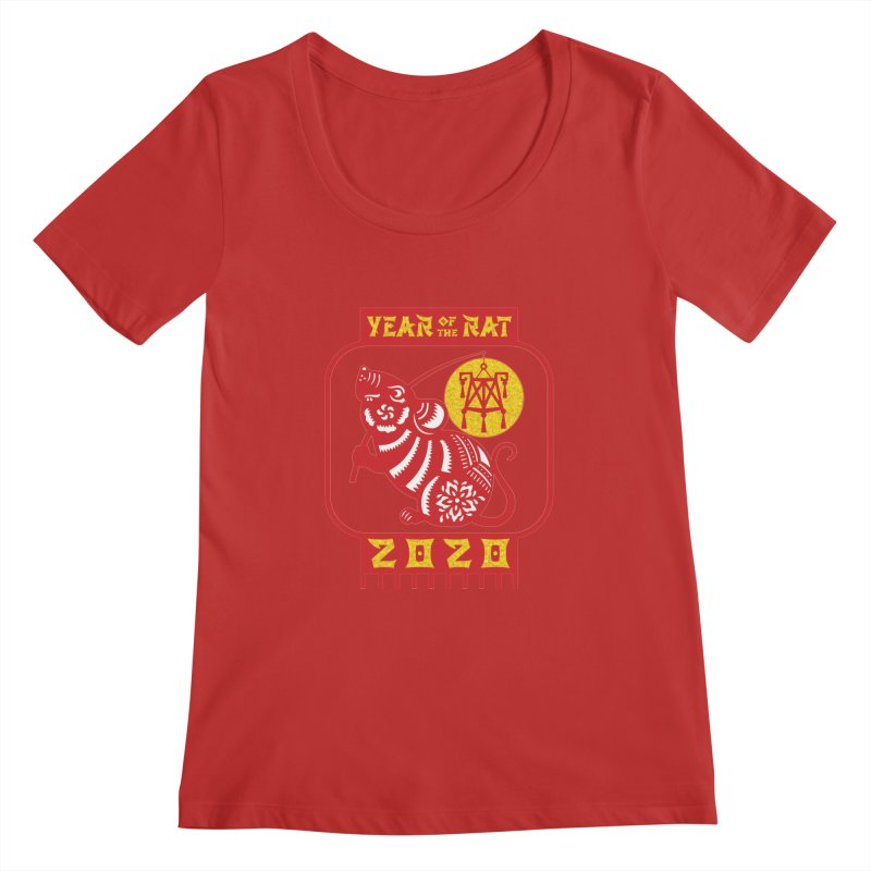 Chinese New Year - Year of the Rat Women's Regular Scoop Neck by Moon Joggers's Artist Shop