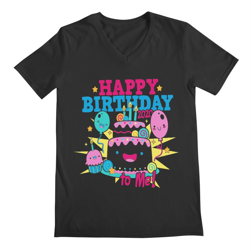 Happy Birthday to Me Men's Regular V-Neck by Moon Joggers's Artist Shop