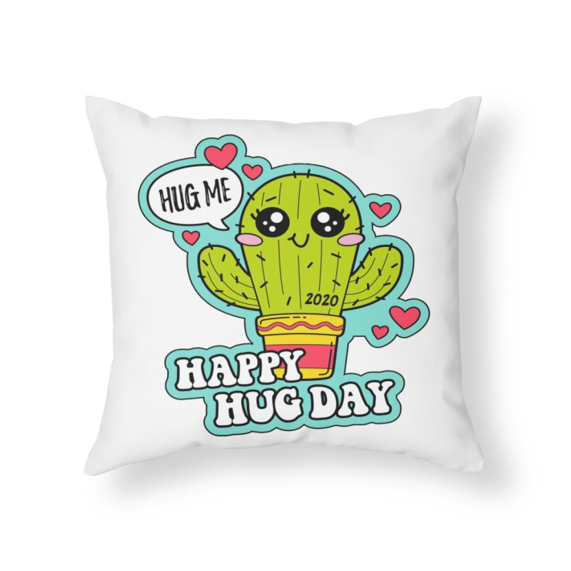 Happy Hug Day Home Throw Pillow by Moon Joggers's Artist Shop