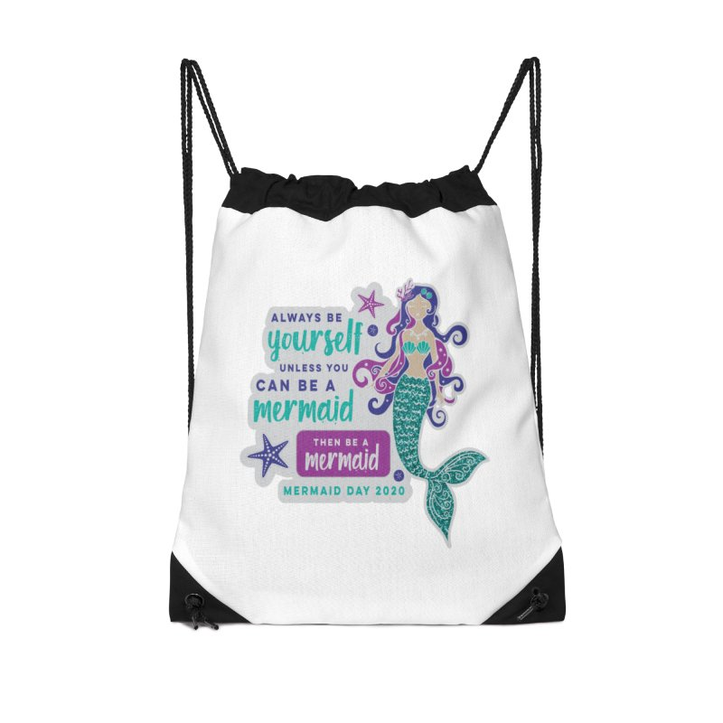 Be A Mermaid Accessories Drawstring Bag Bag by Moon Joggers's Artist Shop