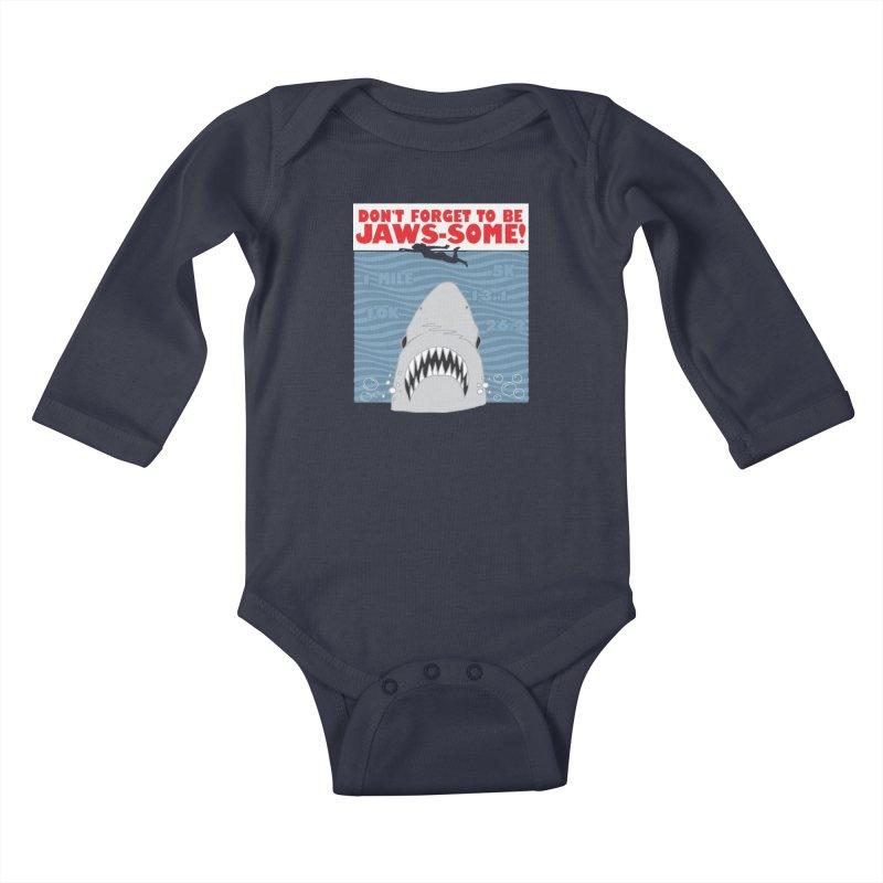 Shark Bait Hoo Ha Ha: Be JAWSome! Kids Baby Longsleeve Bodysuit by Moon Joggers's Artist Shop