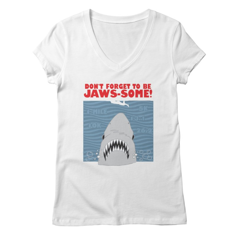 Shark Bait Hoo Ha Ha: Be JAWSome! Women's Regular V-Neck by Moon Joggers's Artist Shop