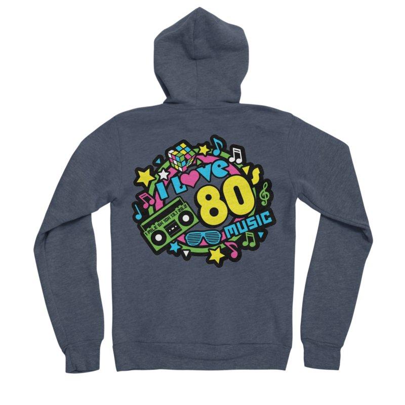 World Music Day - I Love 80s Music Men's Sponge Fleece Zip-Up Hoody by Moon Joggers's Artist Shop