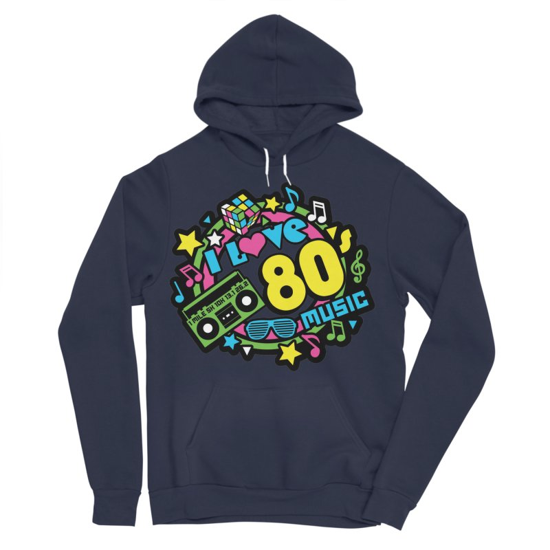 World Music Day - I Love 80s Music Men's Sponge Fleece Pullover Hoody by Moon Joggers's Artist Shop