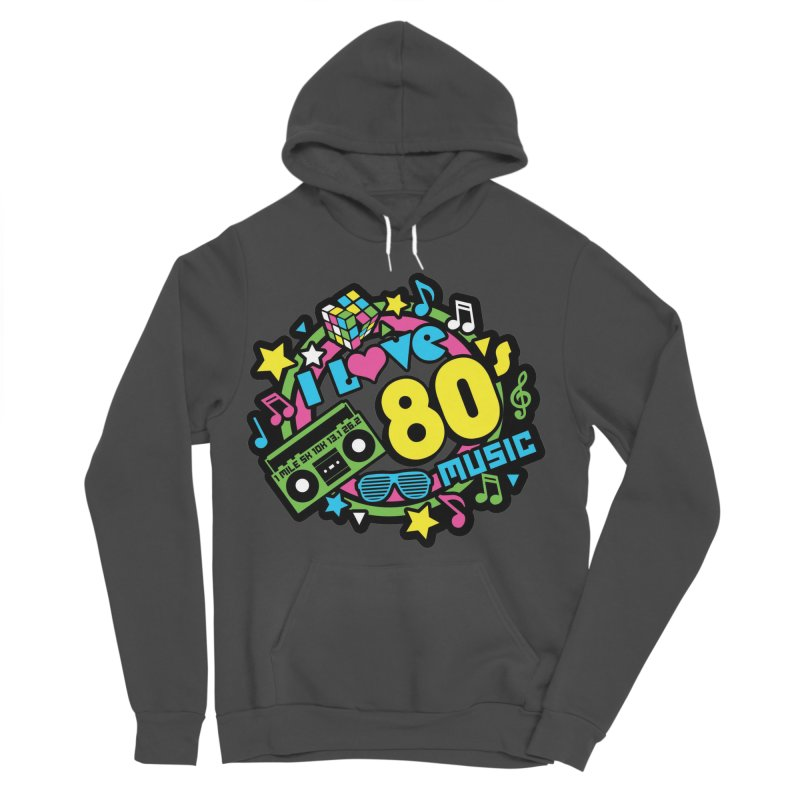 World Music Day - I Love 80s Music Women's Sponge Fleece Pullover Hoody by Moon Joggers's Artist Shop