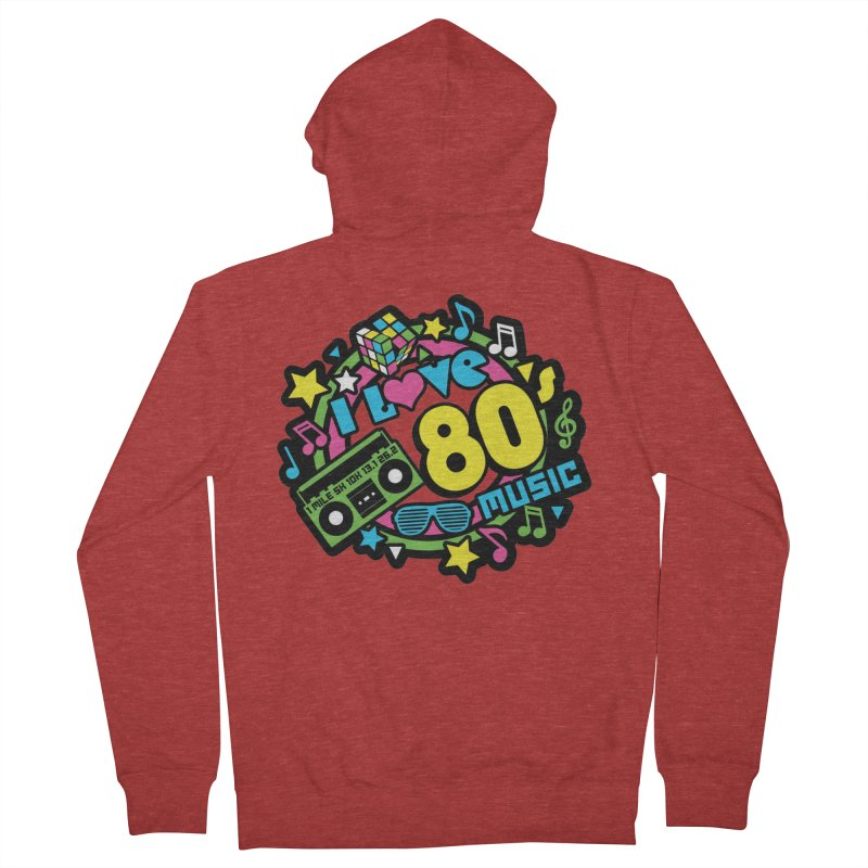 World Music Day - I Love 80s Music Men's French Terry Zip-Up Hoody by Moon Joggers's Artist Shop