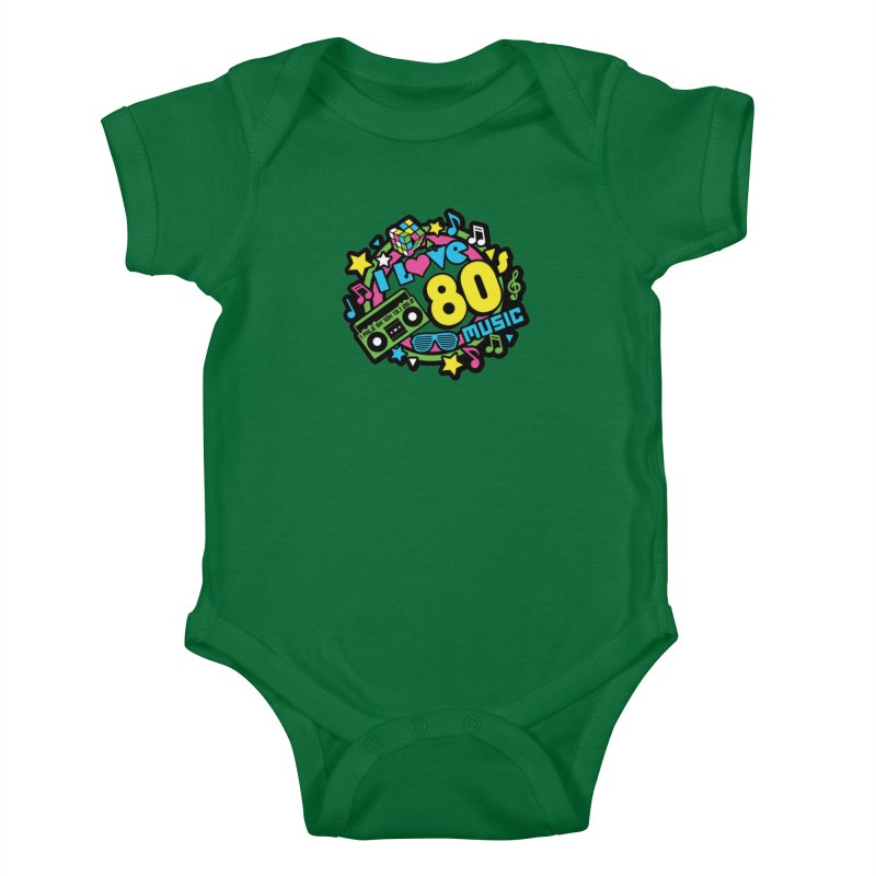 World Music Day - I Love 80s Music Kids Baby Bodysuit by Moon Joggers's Artist Shop