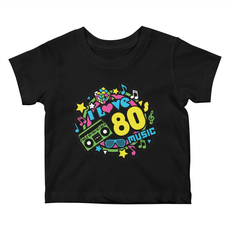 World Music Day - I Love 80s Music Kids Baby T-Shirt by Moon Joggers's Artist Shop
