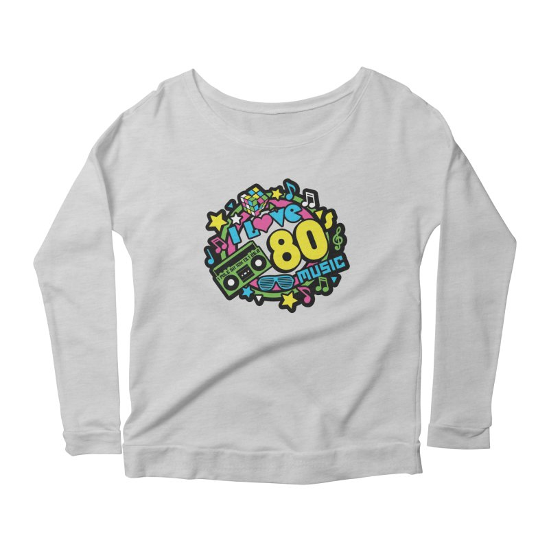World Music Day - I Love 80s Music Women's Scoop Neck Longsleeve T-Shirt by Moon Joggers's Artist Shop