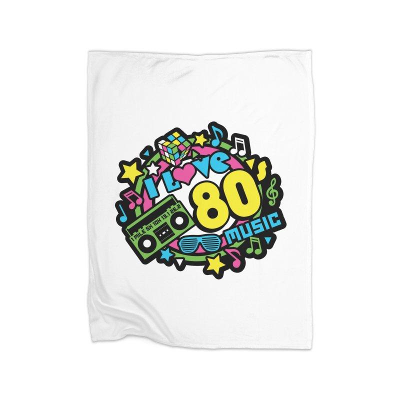 World Music Day - I Love 80s Music Home Fleece Blanket Blanket by Moon Joggers's Artist Shop