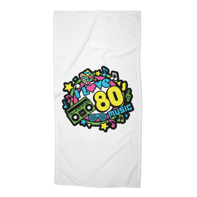 World Music Day - I Love 80s Music Accessories Beach Towel by Moon Joggers's Artist Shop