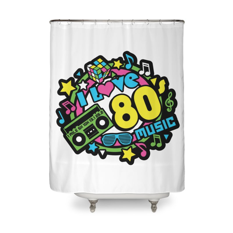 World Music Day - I Love 80s Music Home Shower Curtain by Moon Joggers's Artist Shop