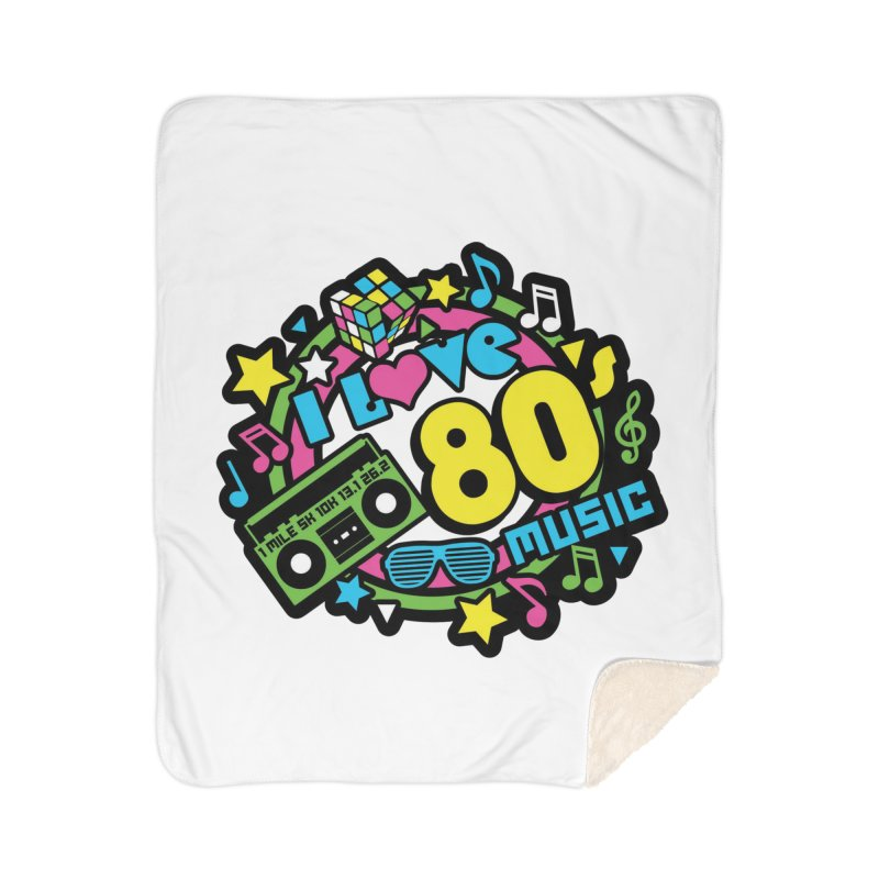 World Music Day - I Love 80s Music Home Sherpa Blanket Blanket by Moon Joggers's Artist Shop