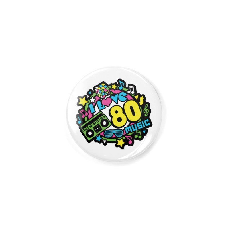 World Music Day - I Love 80s Music Accessories Button by Moon Joggers's Artist Shop