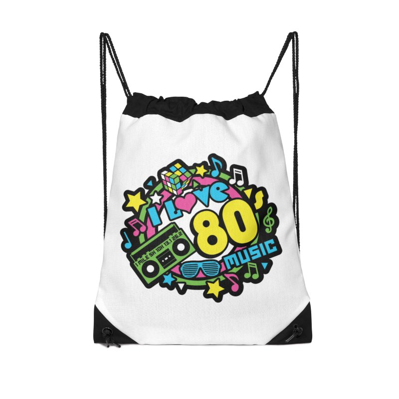 World Music Day - I Love 80s Music Accessories Drawstring Bag Bag by Moon Joggers's Artist Shop