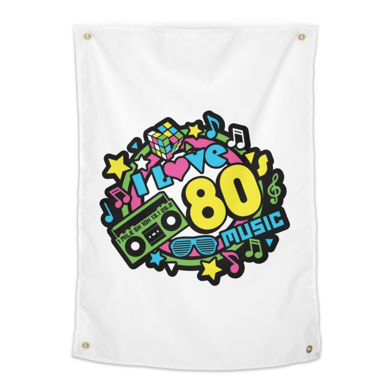 World Music Day - I Love 80s Music Home Tapestry by Moon Joggers's Artist Shop
