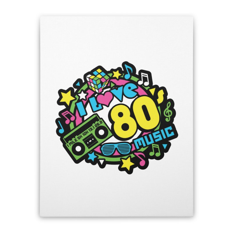 World Music Day - I Love 80s Music Home Stretched Canvas by Moon Joggers's Artist Shop