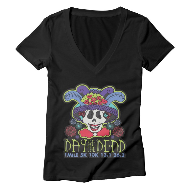 Day of the Dead Women's Deep V-Neck V-Neck by Moon Joggers's Artist Shop