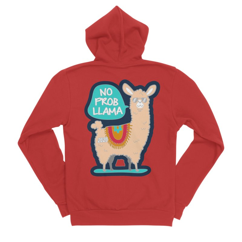 No Prob Llama Women's Sponge Fleece Zip-Up Hoody by Moon Joggers's Artist Shop