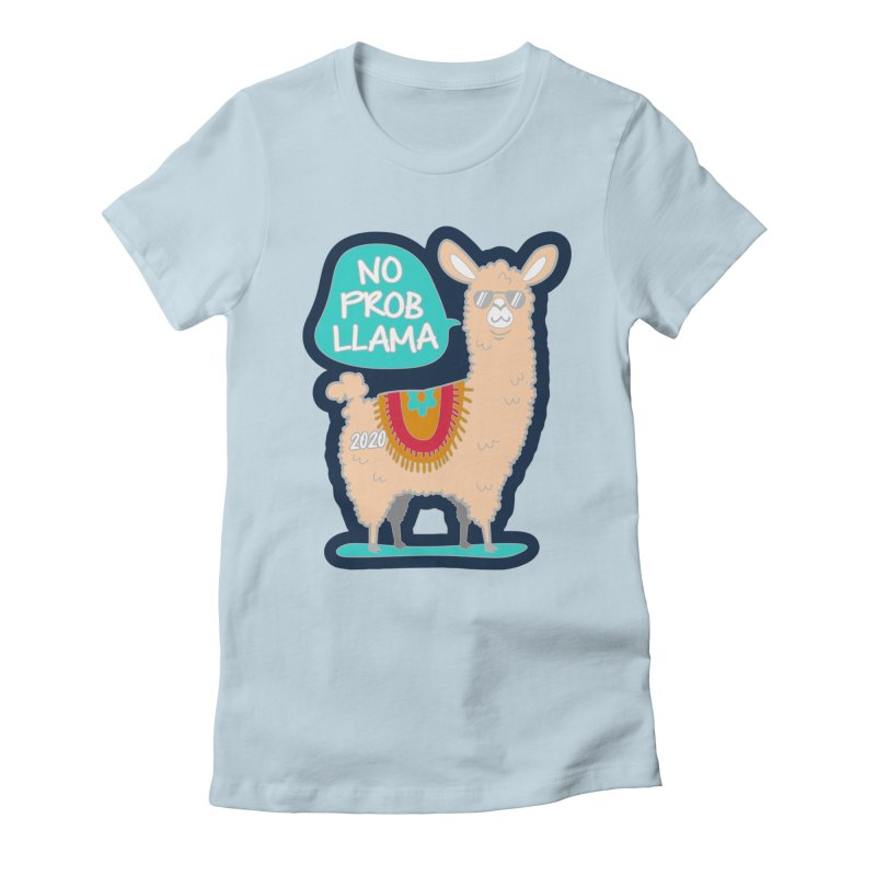 No Prob Llama Women's Fitted T-Shirt by Moon Joggers's Artist Shop