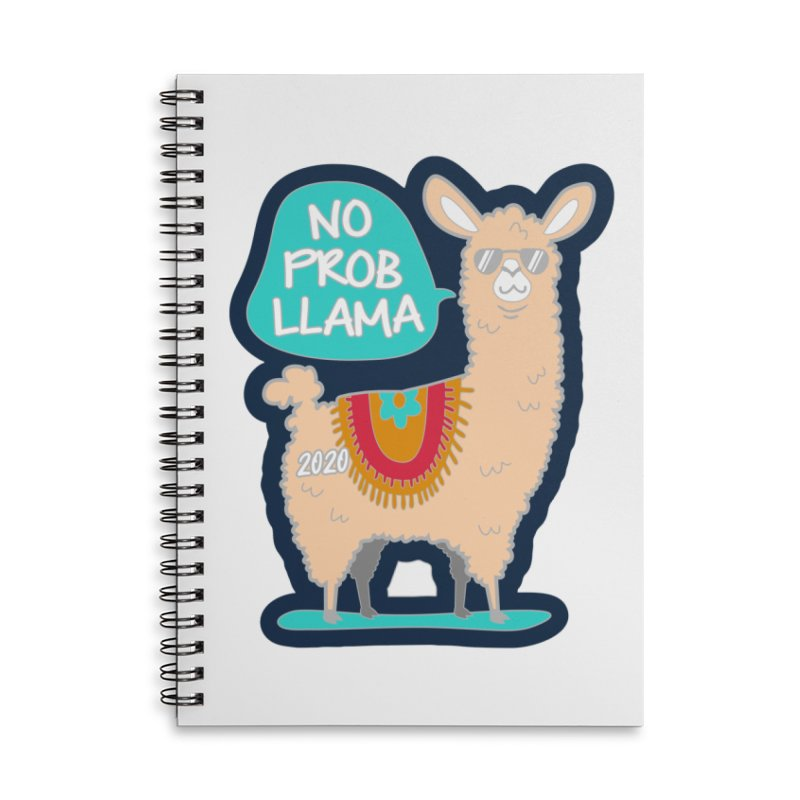No Prob Llama Accessories Lined Spiral Notebook by Moon Joggers's Artist Shop